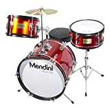Mendini by Cecilio 16 inch 3-Piece Kids/Junior Drum Set with Adjustable Throne, Cymbal, Pedal & Drumsticks, Metallic Bright Red, MJDS-3-BR