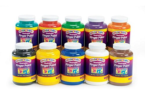 Colorations Washable Finger Paints, 16 oz. - Set of 10 (Item # - Washable Finger 16 Oz Paint