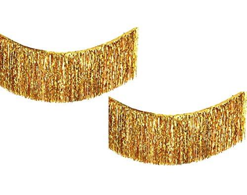 Yalulu 2 Pack Gold Silver Metallic Foil Fringe Table Skirt Banner for Wedding Anniversary Birthday Bachelorette Hen Party Bridal Baby Shower Gender Reveal Decoration (Gold) -