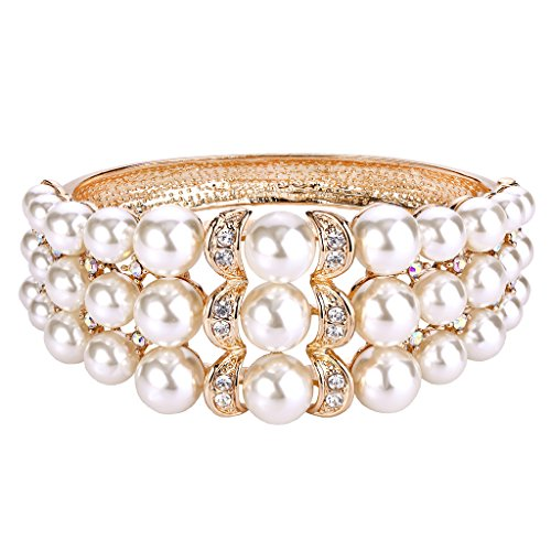 BriLove Women's Wedding Bridal Crystal Cream Simulated Pearl Crescent Moon Light Moonlight Bangle Bracelet Clear Gold-Tone