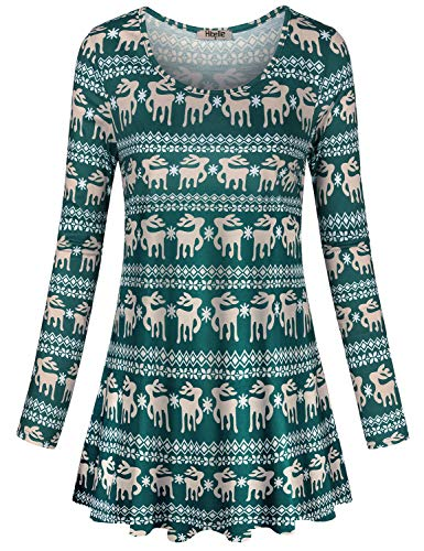 Hibelle Juniors Tunic Tops, Nice Blouses Casual Long Sleeved Round Neck Perfect Shirts for Christmas Printed Pattern Designer A Line Flowy Pleated Athleisure Wear Reindeer Green Medium