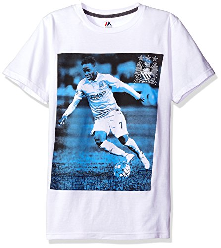 fan products of International Soccer Manchester City Men's R Sterling # 7 Short Sleeve Crew Neck Player Tee, White, Medium