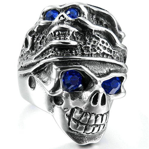 Aooaz Stainless Steel Ring For Men Silver Black Skull Head Blue CZ Mens Band Punk Vintage Biker Retro 8 -