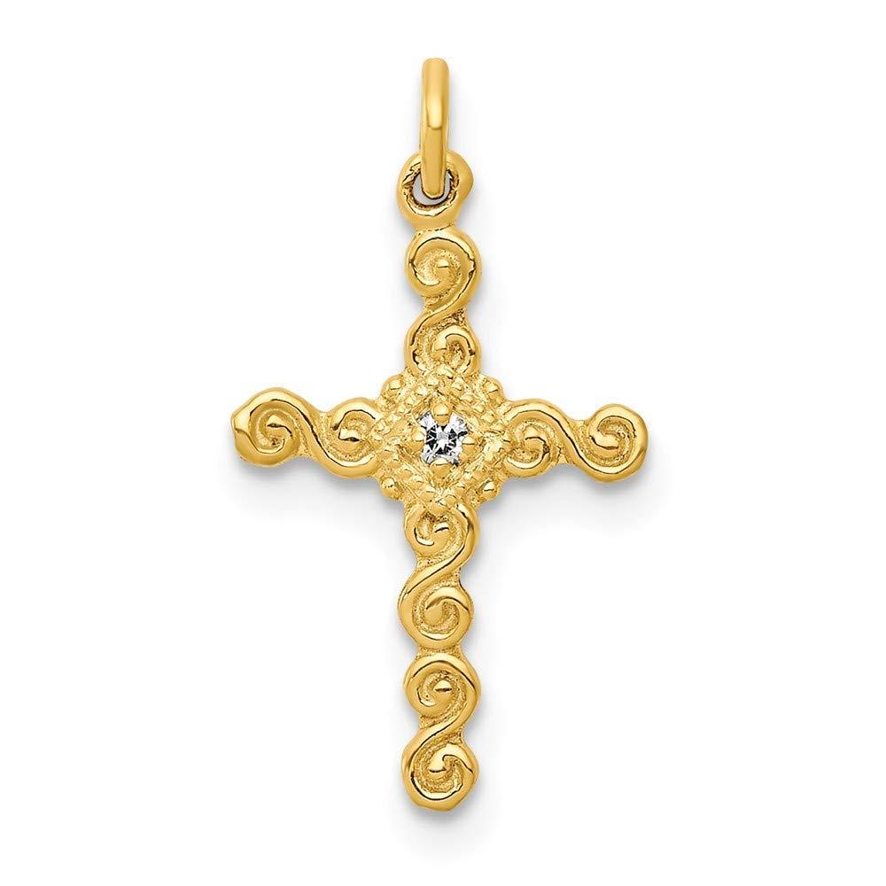 14K Yellow Gold Small 0.01-carat Diamond Cross Charm Pendant from Roy Rose Jewelry