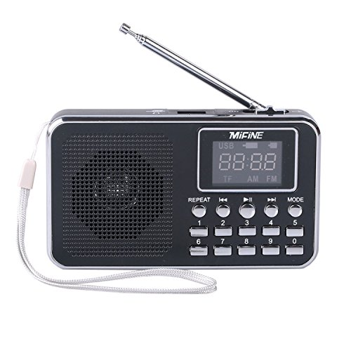 Pocket Radio,Mifine Portable Speaker Am/fm Radio Music Player Micro Sd/tf Card for Pc Ipod Phone (Q32 Black)