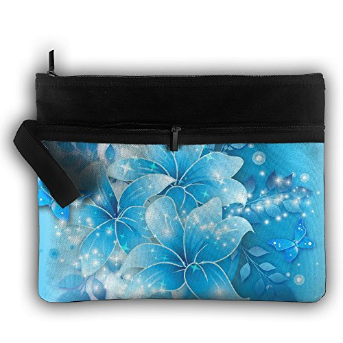 Blue Double Background - OLWCXB Cosmetic Bag Dark Blue Background Double Layers Zipper Cosmetic Bag Purse Travel Handbag