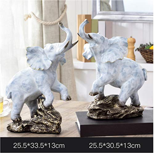 European Style Living Room Town House Home Accessories Lucky Feng Shui Like an Object Decoration Crafts Decorations Resin Elephant 20.5X33.5X13Cm 2Pc 25.5X30.5X13Cm