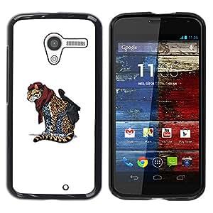 """FU-Orionis Impreso colorido protector duro espalda Funda piel de Shell para Motorola Moto X 1 1st GEN I - Cheetah estrella del rock - Cool Cat"""""""