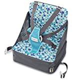 Minnebaby Travel Booster Seat for Dining with Toddlers at Home and On-The-Go, Folding Baby Chair with 5-Point Safety Harness Straps and Storage Pocket