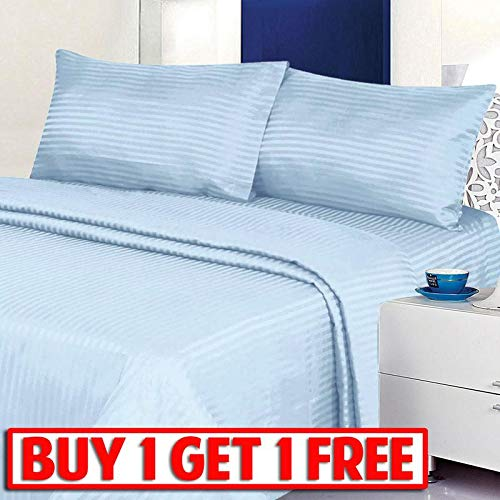 (Deluxe Home Buy-1-Get-1-Free - 4 Piece Classic Dobby Stripe Sheet Set, Wrinkle Free Double Brushed Microfiber 2000 Series Sheet and Pillow Case Set (Light Blue, King))