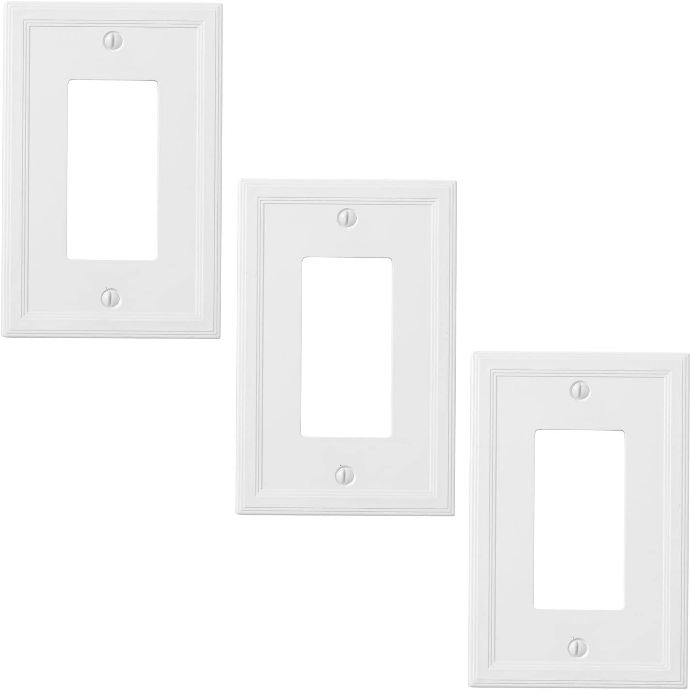 Insulated Single Rocker 3 Pack - White Light Switch Cover Decorative Outlet Cover Wall Plate