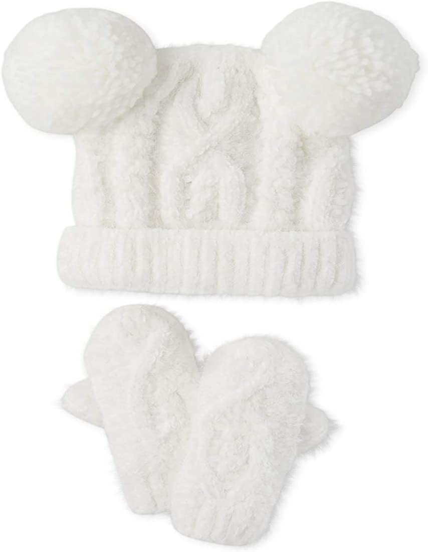 Girls Cable Knit Pom-Pom Bobble Hat and Mittens Set