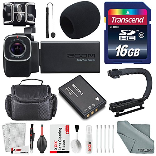 Zoom Q8 Handy Video Recorder with 16GB SDHC, Pro Video Grip and Deluxe Accessory Bundle with Cleaning Kit from Zoom / Photo Savings