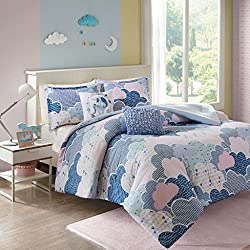Urban Habitat Kids Cloud Full/Queen Comforter Sets for Girls - Blue, Geometric, Unicorn – 5 Pieces Kids Girl Bedding Set – 100% Cotton Childrens Bedroom Bed Comforters