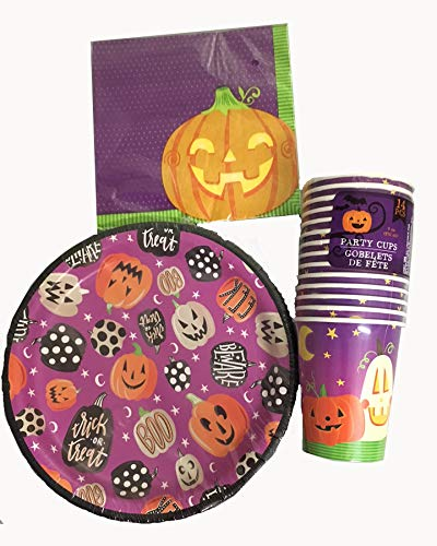 Halloween Party Supply Set - 50 pieces Plates, Cups, Napkins with Pumpkins