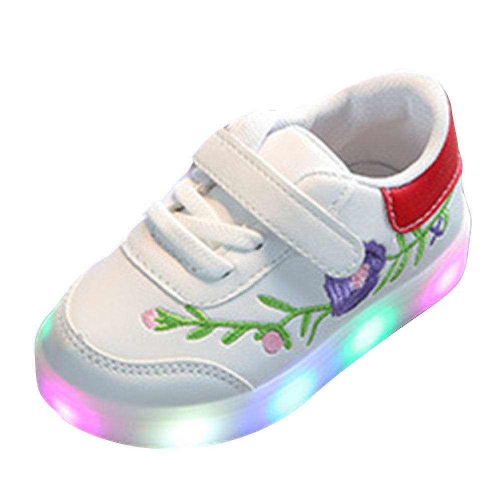 Kids LED Sport Shoes Soft Sole Light Up Shoes Toddler Shoes Girls Boys Sneaker Baby First Walking Shoes Winter Running Trainers Lace-up Flat Anti-slip Sneakers Red Green Black Size 21 -26 Mxssi Mxssi network technology Co. Ltd