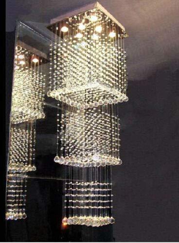 FidgetGear Modern Square Rain Drop LED K9 Crystal Chandelier Pendant Light Ceiling Lighting by FidgetGear (Image #2)
