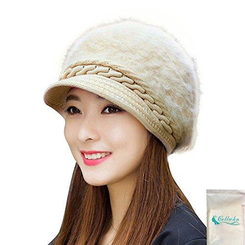 Gellwhu Women Girls Rabbit Fur Knit Hat Winter Warm Snow Cap with Visor (Beige) (Ranger Adult Accessory Kit)
