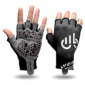 LYCAON Cycling Gloves (Gel-Padded, Non-Slip, Breathable) Riding Biking Half Finger Pad Gloves for Folding BMX Road Bike Cruiser Mountain Bike MTB Scooter Cycling Outdoor Gym Exercise (Black, X-Large)