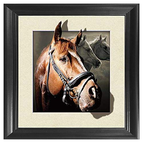 Horse 3D Poster Wall Art Decor Framed Print | 18.5 x 18.5 | Lenticular Posters & Pictures | Memorabilia Gifts for Guys & Girls Bedroom | Natural Wildlife & Barn Animal Fan Picture for Home Walls - Framed Art Horses