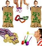 Tigerdoe Carnival Games - Relay Races - Party Games - Birthday Games - Outdoor Activities by (Potatoe Sacks, Race Bands, Egg & Spoon Game, Metal Necklaces)