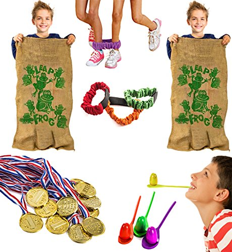 Tigerdoe Carnival Games - Relay Races - Party Games - Birthday Games - Outdoor Activities (Potatoe Sacks, Race Bands, Egg & Spoon Game, Metal Necklaces)