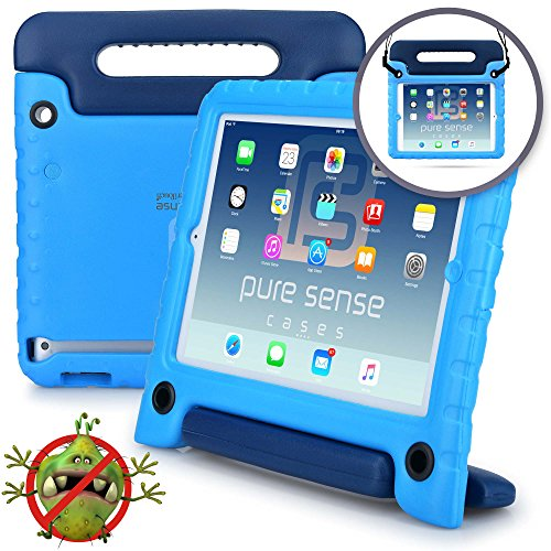 Pure Sense Buddy Kids Case Compatible Galaxy Tab E 9.6 | Anti Microbial Shock Proof Cover Kids | Protective Case Boys, Girls | Shoulder Strap, Handle & Stand | Samsung SM-T560 T561 (Blue) ()