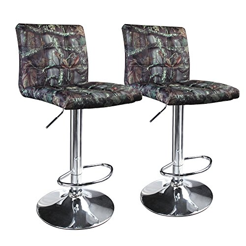Leopard Square Back Adjustable Hydraulic Bar Stools, Set of 2, Camouflage Jungle Wood (Decor Home Camouflage)