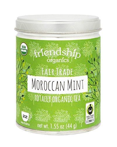 Friendship Organics Moroccan Mint, Totally Organic and Fair Trade Green Tea in Tagless Tea Bags (22 Count) ()