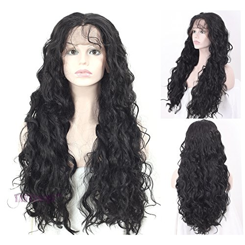 """Price comparison product image TANYAWIGS Long Thick Natural Wave Synthetic Lace Front Wig Heat Resistant Fiber Glueless Synthetic Wig For Women(22""""Natural Black)"""