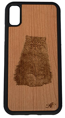 (iPhone X and 2018 iPhone Xs Compatible Laser Engraved Cherry Wood Cell Phone Case - from Photo of Persian Cat)