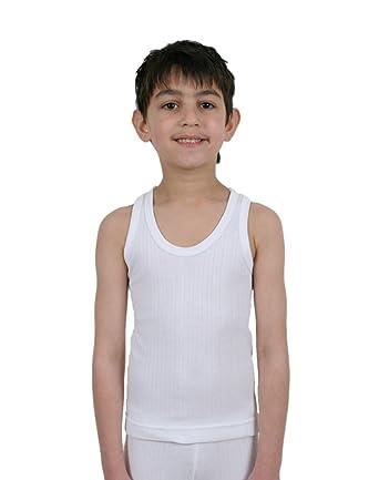 87ac8f421c0 Pack of 3 - Kids/Boys Thermal Underwear - Sleeveless Vests - White:  Amazon.co.uk: Clothing