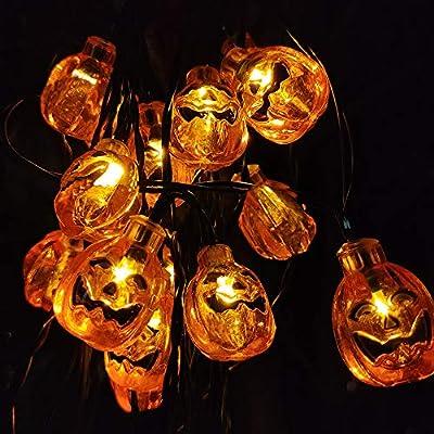 Eurus Home Halloween Pumpkin String Lights 20 ft with 30 LEDs,Solar Powered Jack-O-Lantern Decorative Lights for Patio,Patries (IP65 Waterproof,8 Light Modes,Warm White)