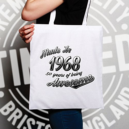 Awesome Being Made 1968 Birthday White Years Shopping Bag 50th 50 qUp8HgP