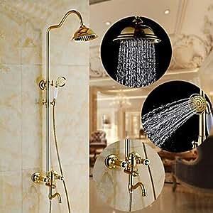Grifo de pared tradicional de ti-PVD sola manija del grifo de la ducha de lluvia