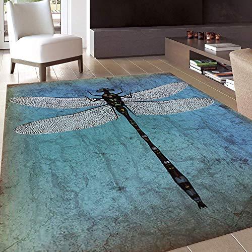 (Rug,FloorMatRug,Dragonfly,AreaRug,Grunge Vintage Old Backdrop and Dragonfly Bug Ombre Image,Home mat,6'x8'Dark Blue Turquoise and Black,RubberNonSlip,Indoor/FrontDoor/KitchenandLivingRoom/Bed)