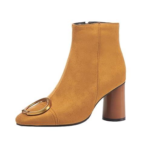 Botines de tacón Alto con Cremallera Lateral Botas Martin de Gamuza Zapatos Retro remachados LILICAT®