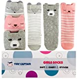 7 month old baby girl - Baby Girl Knee High Toddler Socks 8-24 Months Best Gift for 1 Year Old Girl With Anti Slip Gripper Bottom From Tiny Captain (Small, Pink)