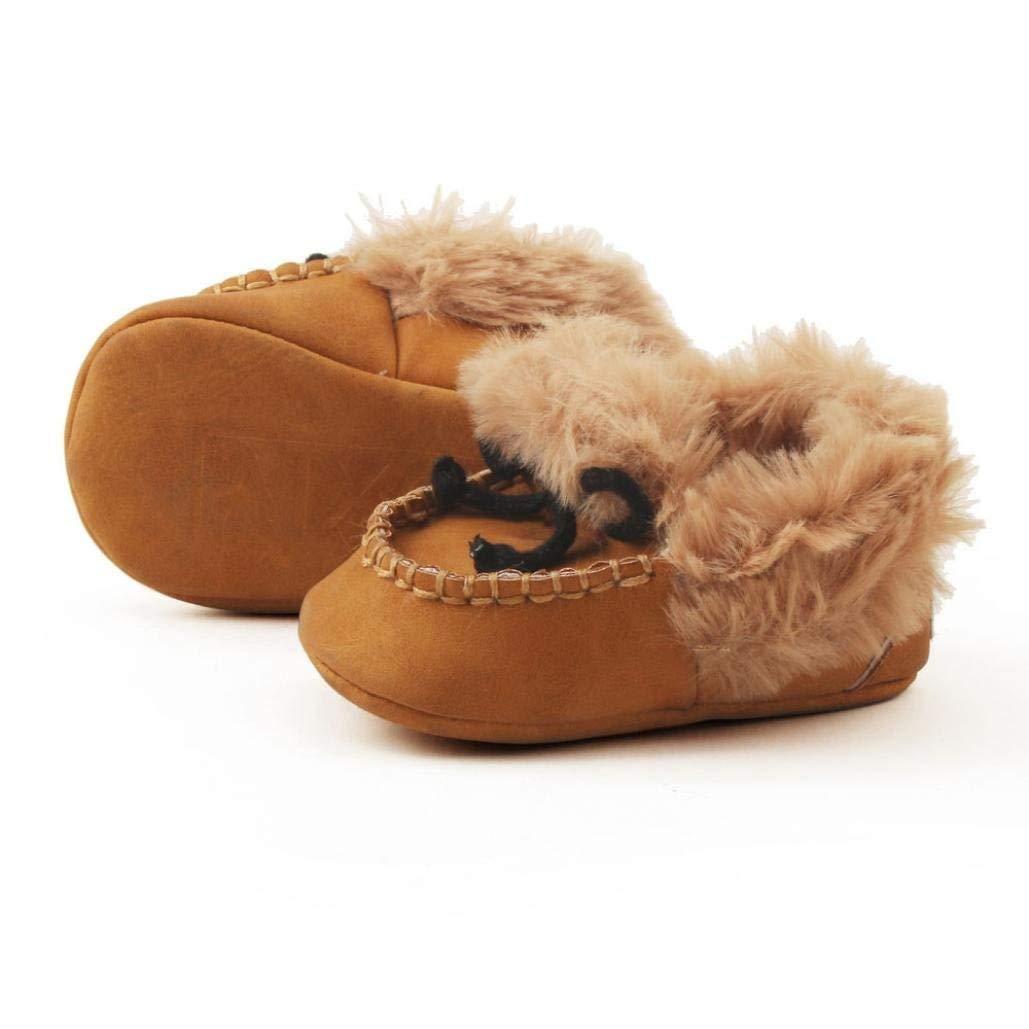 Qiusa Chaussures de réchauffement de bébé, pour 0-18 Mois Bébé, Mode Nouveau Mignon Confortable Anti-Slip Semelle Souple Bottes Toddler Chaussures (coloré : Marron, Taille : UK:2)