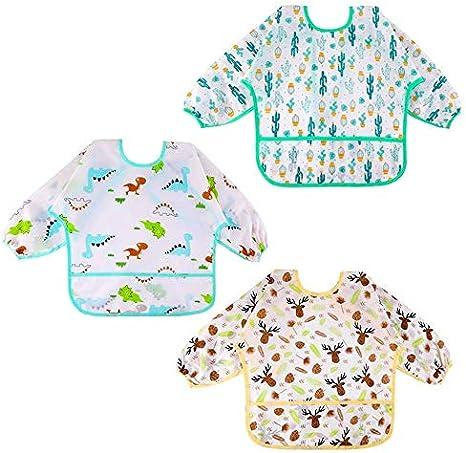 3 Baberos Bebés Impermeables Manga Larga Suave Material Para Niños ...