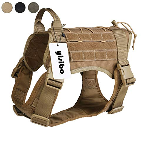 yisibo Outdoor Hiking Tactical Dog Harness,K9 Working Service Dog Vest,Water-Resistant Comfortable Military Dog Harness with Handle,Large (27.5