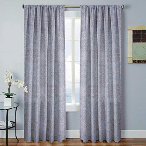 Vera Neumann - Laney Heavy 100% Cotton Paisley Pole Top Window Curtains for Living Room & Bedroom - Assorted Colors - Set of 2 Panels (52 X 96 Inch - Blue)