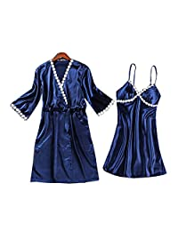 Chinashow Womens Satin Pajamas Set Sexy Ice Silk Suit Set Sleepwear/Nightwear Clothes, Navy Blue #D
