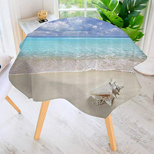 (Philiphome Circular Table Cover Washable Polyester-Each Sand Pearl Necklace Shell Summer Holi Horiz Cariban Tropical Coast Stain Resistant Wrinkle Free Dust Table Cover 55