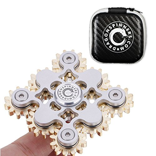 NEW 2017 ORIGINAL DRAGON SPINNER | G9 Nine Bearings Gear Design | Superior R188 Bearings | Premium Quality | Stress Relief Toy | Multiple Functions | Silver Color (Premium Wind Spinner)