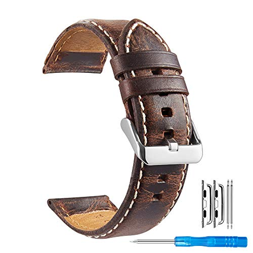 Men's Business Genuine Leather Watch Bands Oil Wax Calf Leather Watch Straps Replacement watchbands 22mm for Classical Traditional Watch and Apple Watch 42 44 MM Series 4/3/2/1