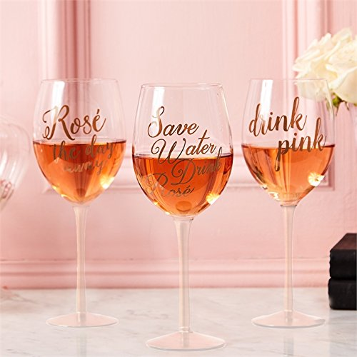 Two's Company Drink Pink Rosé Wine Glass with Rose Gold Lettering Gift Boxed (1, Save Water Drink Rosé)