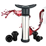 Wine Saver Vacuum Pump Preserver - Stainless Steel Wine Saver Pump Preserver with 4 vacuum Wine Bottle Stoppers