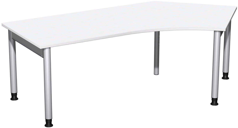 Geramöbel Schreibtisch 135° rechts höhenverstellbar, 2166x1130x680-820, Weiß/Silber