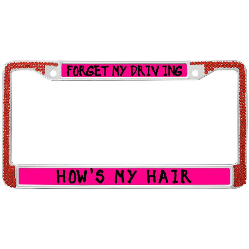 Amazon com: GND Rhinestones License Plate Frame Red,Forget